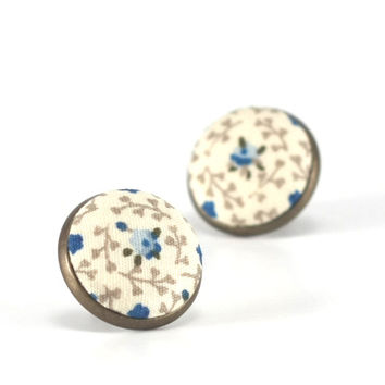 Floral Stud Earrings, Roses For Jane Austen Earrings, Blue Floral Studs, Beige Blue Romantic Regency Fabric Buttons Jewelry, Antique Posts
