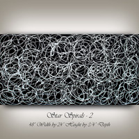 Abstract Painting Black and White Artwork, Calming Oil painting, Jackson Pollock style, Original Artwork, by artist Nandita