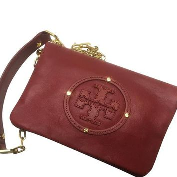 Tory Burch Leather Flap Crossbody Detachable Chain Red