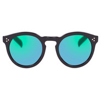 Illesteva Leonard II Green Mirrored Sunglasses - Black & Green Sunglasses - ShopBAZAAR