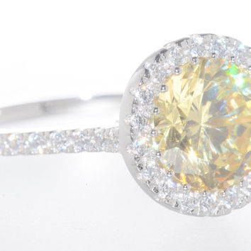 925 Sterling Silver Canary Cubic Zirconia Ring 8mm Yellow CZ Stone
