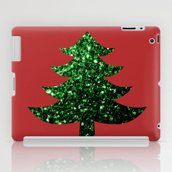 Christmas tree green sparkles iPad Case by PLdesign