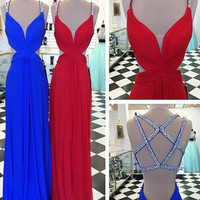 Custom Made Sexy A Line Backless Red/Blue Prom Dresses, Backless Formal Dresses