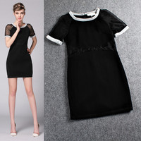 Black Mesh Knitted Hem Short Sleeve  A-Line Mini Dress
