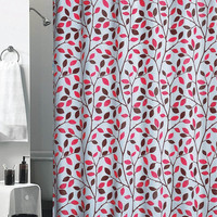 Branches with Leaves - Fabric Shower Curtain