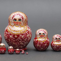 Exclusive Russian Gzhel traditional matryoshka babushka russian nesting doll with flowers 10 pc Free Shipping plus free gift!