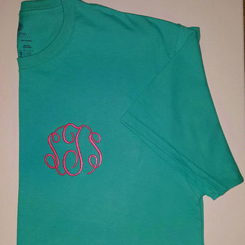 Embroidered T-Shirt. Initials or Sororities