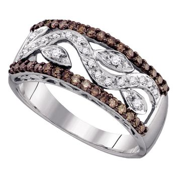 10kt White Gold Womens Round Cognac-brown Color Enhanced Diamond Floral Band Ring 3/8 Cttw