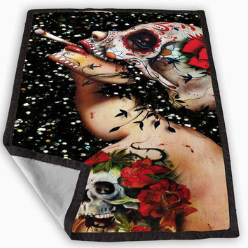 Floral Sugar Skull Tattooed Blanket for Kids Blanket, Fleece Blanket Cute and Awesome Blanket for your bedding, Blanket fleece **