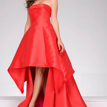 Red and Fuchsia High Low Jovani  Dress 47444