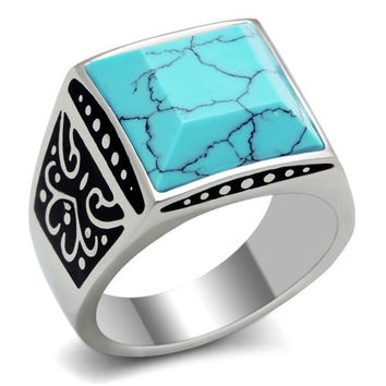 Men's Turquoise Blue Stainless Steel Ring
