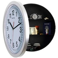 UNIQUE GIFT, Large, White, Kitchen, Wall Clock, Modern, with 10 inch Face. Use as Secret Hidden Compartment, Medicine Cabinet or Just to STASH CASH.