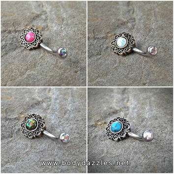 Tribal Glitter Opals Bronze Belly Button Navel Ring Body Jewelry Fits in Navel 14ga Cute Belly Ring Surgical Steel