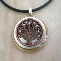 Tree of Life Necklace: Copper on Silver - Tree Jewelry - Washer Necklace - Men's Necklace - Men's Jewelry - Father's Day - Wiccan Jewelry