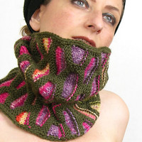 neck warmer turtle neck tube scarf knit honeycomb motif olive green hot pink purple rainbow winter fashion tagt  curationnation