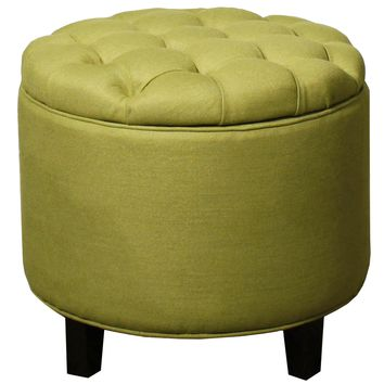 Rosecrans Tufted Storage Ottoman LIME
