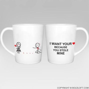 You Stole My Heart™ Couple Coffee Mugs-His and Hers Couple Mug Set,Couples Matching Gift,Gifts for Girlfriend,Gift for Her,Anniversary Gift,Christmas Gift,Valentines Day Gift,Long Distance Relationship Gift
