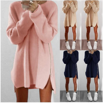 New Women O-neck Long Sleeve Sweater Dress Warm Knited Woolen Dresses with Zipper Fashion Autumn Winter Clothes +Free Christmas Gift -Random Necklace 113