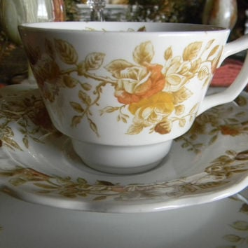 Sage Brown ish Green Transferware Tea Cup Teacup and Saucer Hand Painted Antique Roses Autumn Colors