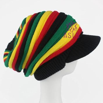 New fashion Bob Marley Reggae Jamaican cap Stripe Slouchy visor Beanies Skullies Knitted Hat