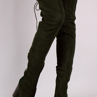 Over-The-Knee Back Corset Chunky Heel Boots