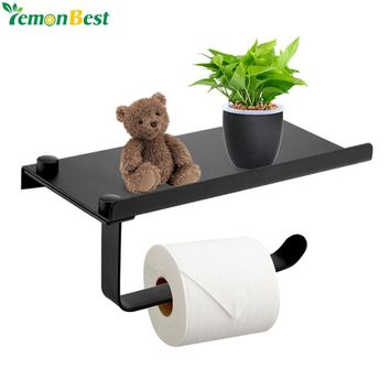 Stainless Steel Bathroom Toilet Roll Paper Holder With Shelf Mobile Phone Roll Paper Holder Rack Wall Mounted Tissue Paper Rack