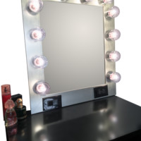 The Hollywood Vanity Makeup Mirror- Brushed Silver
