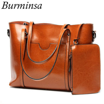 Burminsa Brand Genuine Leather Bags Bucket Tote Shopping Bags Designer Handbags High Quality Shoulder Crossbody Bags For Women