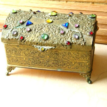 Vintage Filigree Box - Vintage Jewelry Box - Jeweled Box - Rhinestone Box - Rhinestone Jewelry Box - Metal Jewelry Box