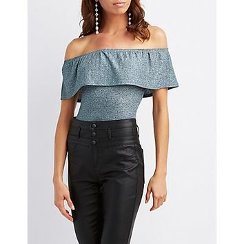 Ribbed Ruffle-Trim Off-The-Shoulder Bodysuit | Charlotte Russe