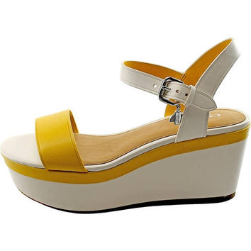 Coach Brittanie Open Toe Leather Wedge Sandal | Overstock.com Shopping - The Best Deals on Sandals