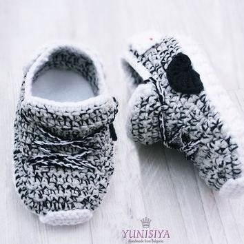Grey Crochet Baby Shoes Crochet Baby Booties Athletic Shoes Newborn Yeezy Boost Baby S