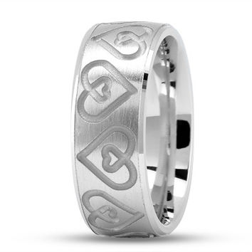 Wedding Band - Engraved Double Heart Wedding Ring