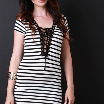 Striped Deep V Lace Up Tee Shirt Dress