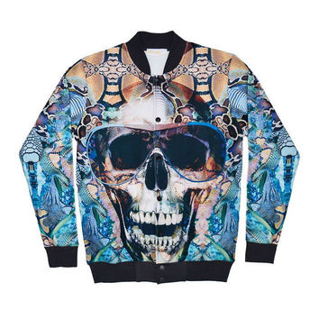 Skull Neoprene Windbreaker Jacket