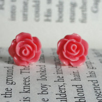 Coral Pink Rose Stud Earrings - Flower Stud Earrings