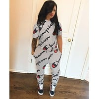 Champion Newest Popular Women Casual Print Long Sleeve Top Pants Set Two-Piece Sportswear Grey