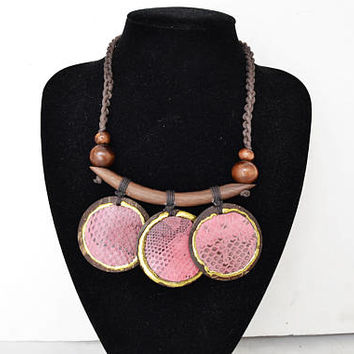 Handmade coconut and wood necklace, modern African art