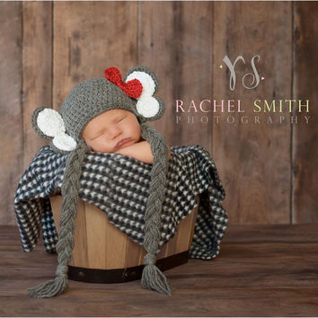 Crochet Elephant Hat, Alabama Crimson Tide, Earflaps, Baby Elephant, Newborn to 6 months, Photo Prop