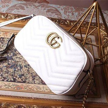 DCCK GUCCI Classic Small square bag Camera Bag Shoulder Diagonal Package White