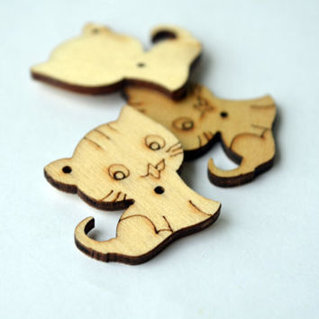 3 pcs Kitten Charm Pendant Wood Little Necklace Cat Jewelry Cute Little Cat Laser Cut Wood Pendant, for pendants, brooches, crafting DIY cat
