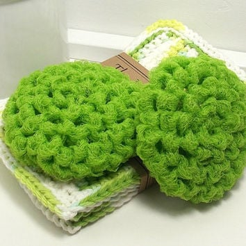 Crochet Dish Scrubbers - Lime Green Scouring Pads - Set of 2