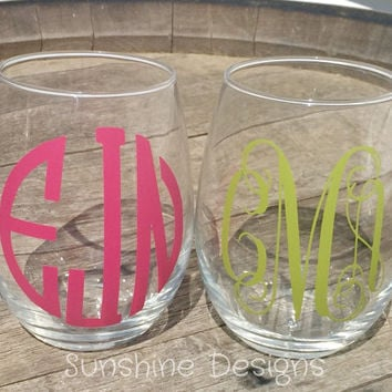 Bachelorette Monogram Stemless Wine Glasses, Wedding Gift, Engagement Gift, Bridesmaid Gift, Groomsman Gift