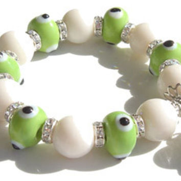 Swarovski Crystal Evil Eye Light Green Charm Bracelet