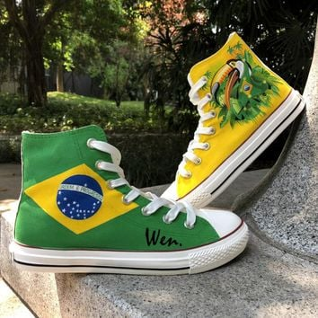 Wen Unisex Hand Painted Shoes Design Custom Brazil Flag Bird Green-Winged Macaw High Top Canvas Sneakers Christmas Gifts