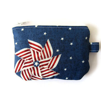 Mini zipper pouch/ small credit card holder/ gift card purse/ small coin purse / mini wallet/ zipper organizer/ American flag windmill