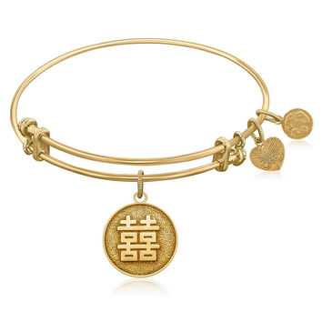 Expandable Bangle in Yellow Tone Brass with Chinese Double Hands Symbol