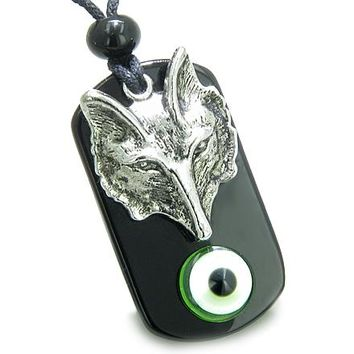 Amulet Wise Wolf Head Evil Eye ProtectiSpiritual Powers Lime Green Eye Onyx Pendant Necklace