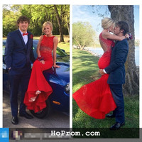 Red Prom Dresses Mermaid Backless Prom Dress Mermaid Evening Dress