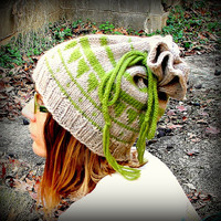 Knit hat, drawstring hat, wool beanie, dread accessories, gift idea, cowl, neck warmer, snood, beanie